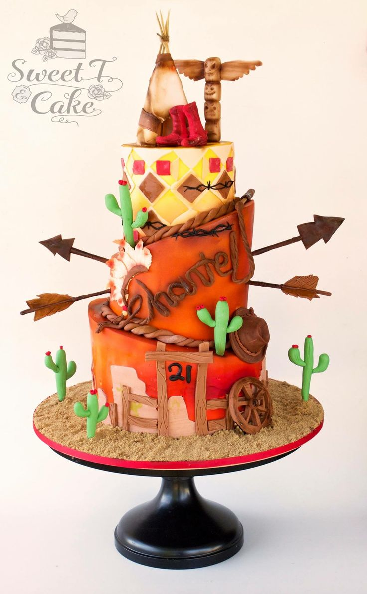 Western theme cake, Cowboys and Indians