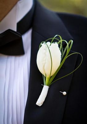 Reference for Boutonniere :groom and groomsmen Use either tulip or calla lilly and contrast greenery