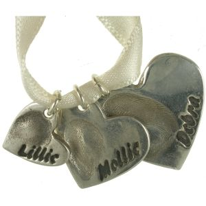 Set of 3 fine silver fingerprint jewellery charms made for a necklace by Gemma at Lasting Touch.