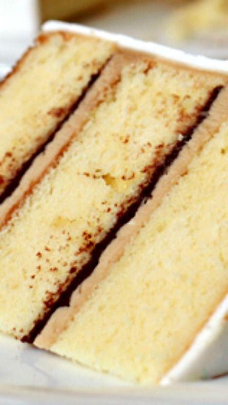 Vanilla Cake with Tiramisu Buttercream and Bittersweet Chocolate Ganache Filling