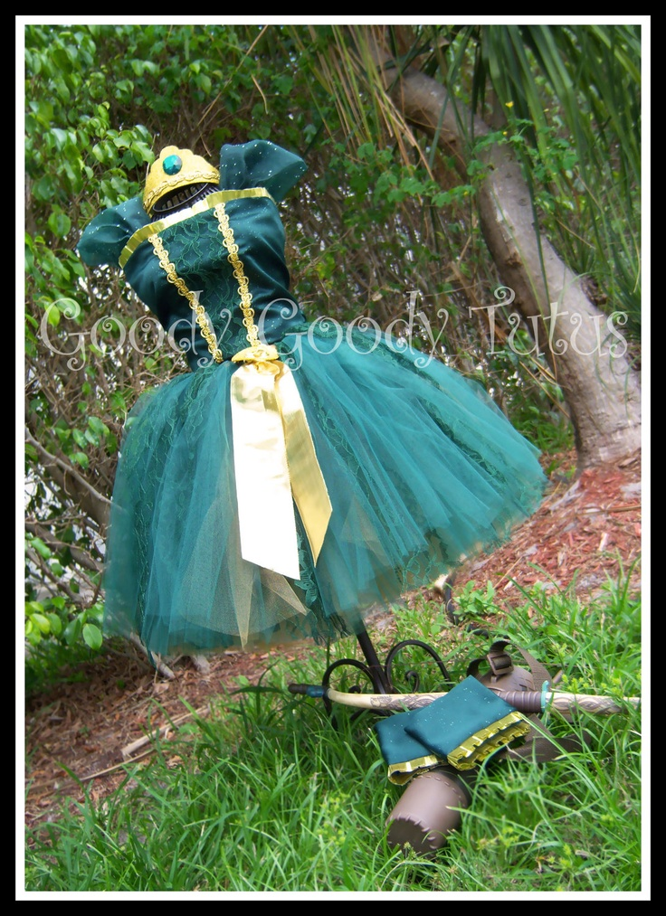 BRAVE LITTLE PRINCESS Merida Inspired Corset Top and Tutu Set with Wrist Cuffs and Tiara. $145,00, via Etsy.
