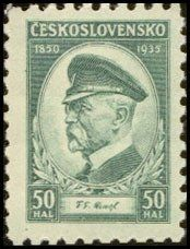 Znaczek: Thomas Garrigue Masaryk, president (85 birthday) (Czechosłowacja) (Tomáš Garrigue Masaryk, 85th Birth Anniversary) Mi:CS 332,Sn:CS 202,Yt:CS 292,AFA:CS 194,POF:CS 285