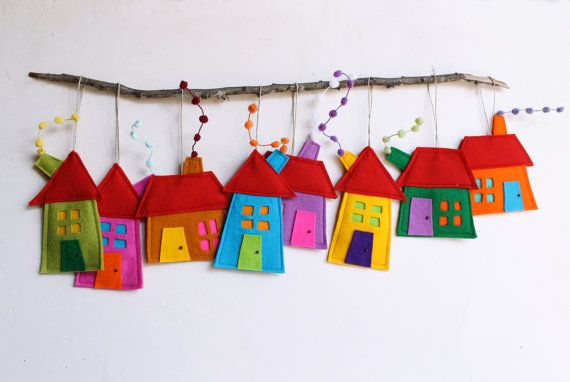 House ornament, Set of eight, Felt House decoration , Decoration for wall hanging. Holiday gift. via Etsy