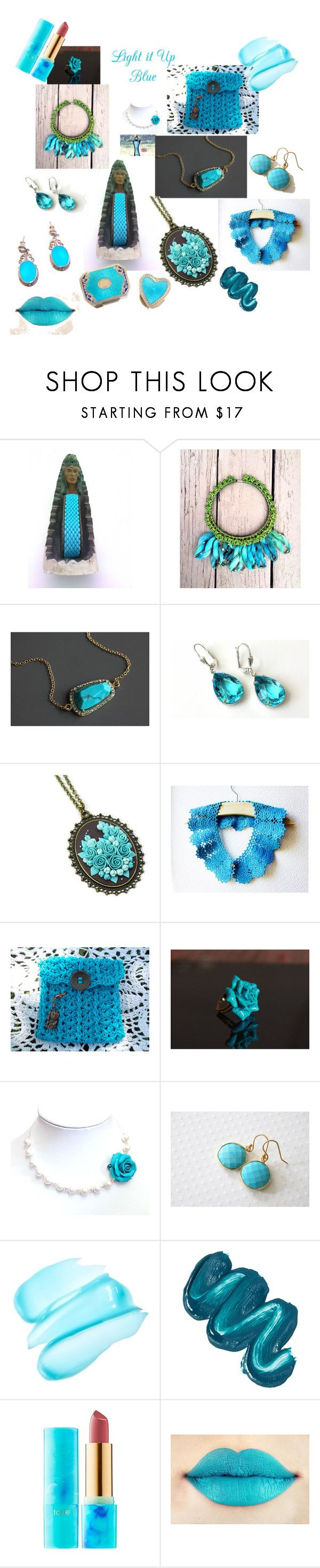 """""""Light it up...Blue"""" by justforyouhm ❤ liked on Polyvore featuring Oggetti, GlamGlow, Mermaid Salon and tarte"""