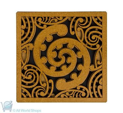 Maori Pattern Tile Art - Wooden Art Piece - Toru  http://www.shopnewzealand.co.nz/en/c/Giftware