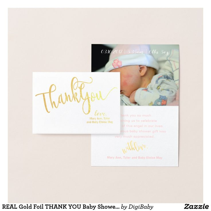 inspirational baby shower invitation wording%0A REAL Gold Foil THANK YOU Baby Shower Photo Card