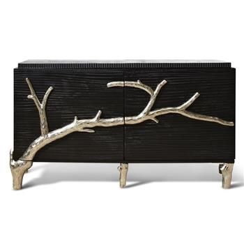 Rye Beach Hollywood Regency Black Silver Branch Media Cabinet. #kathykuohome # cabinet #HollywodRegency