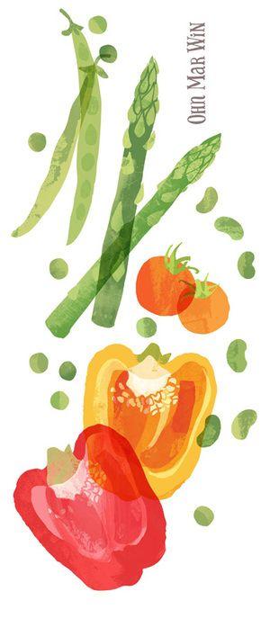 Ohn Mar Win peppers tomatoes asperagus