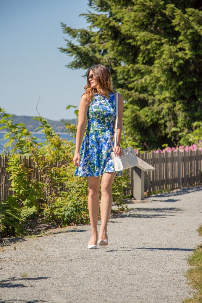 Fit and Flare Floral Dress | White Heels | Summer Fashion | www.stylemissmolly.com