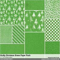 Krafty Christmas Green Paper Pack