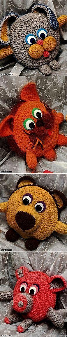 вязаные подушки - игрушки.