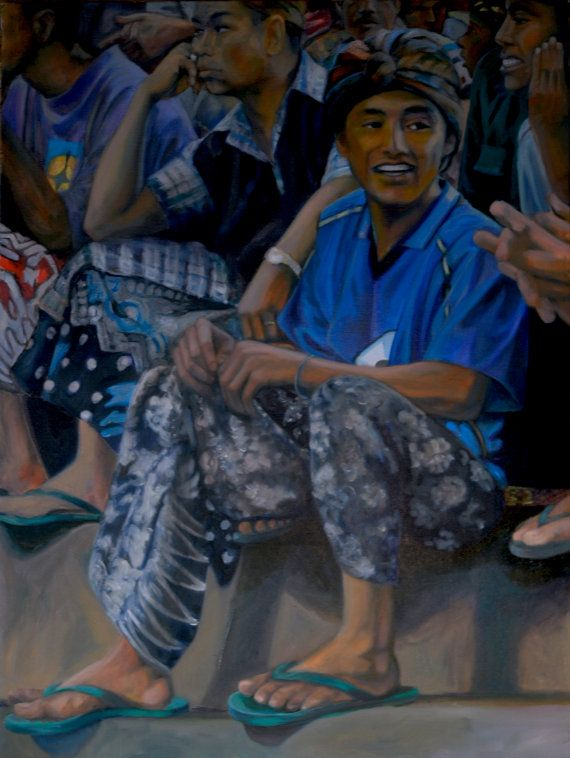 """Oil Painting """"The Discussion"""" Oil painting inspired by the everyday beauty of life in Bali, Indonesia. on Etsy, $1,195.00"""