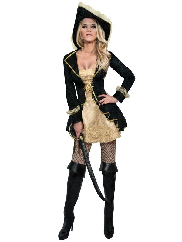 Sexy Piratin Damenkostüm schwarz-gold