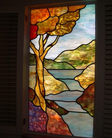 191 best images about stained glass landscapes on for Coloured glass panels