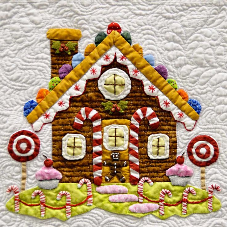 """Gingerbread house quilt block from """"Baltimore Christmas"""" Applique quilt by Miriam Meier"""