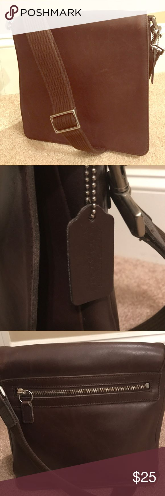 Coach Messenger Bag Coach espresso leather messenger bag with adjustable canvas strap. Coach Bags Crossbody Bags