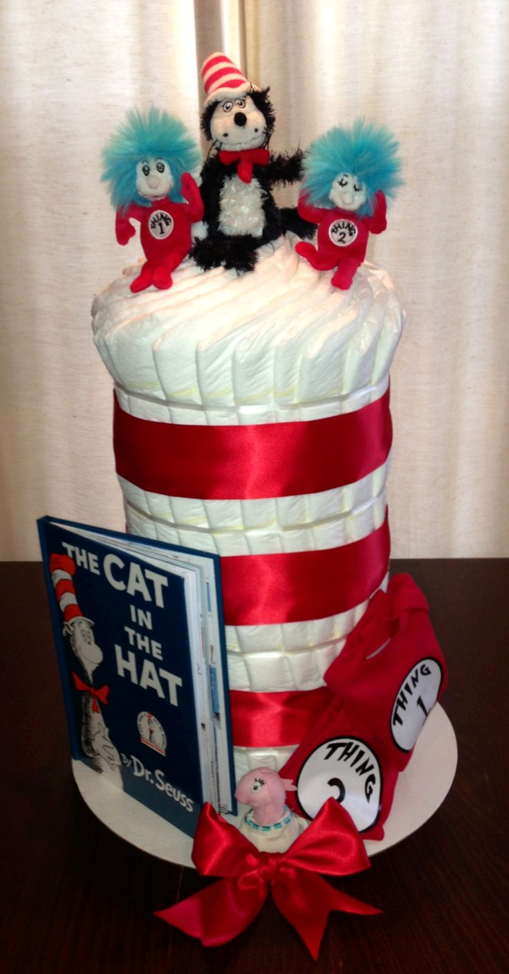 Cat in the Hat diaper cake! Perfect for a twin baby shower!
