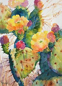 Watercolor painting_ CACTUS CHEER _ Mary Shepard original_Texas prickly pear cactus with its spring blooms--on 10 x 14 Arches watercolor paper using colorful, luminous hues.  www.maryshepard.com