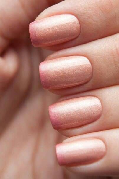 #uñas rose gold and pink ombre #nails