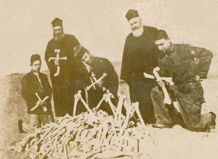 Greek Orthodox Christians in Asia Minor in 1920 with the bones of their dead during the Asia Minor Catastrophe.