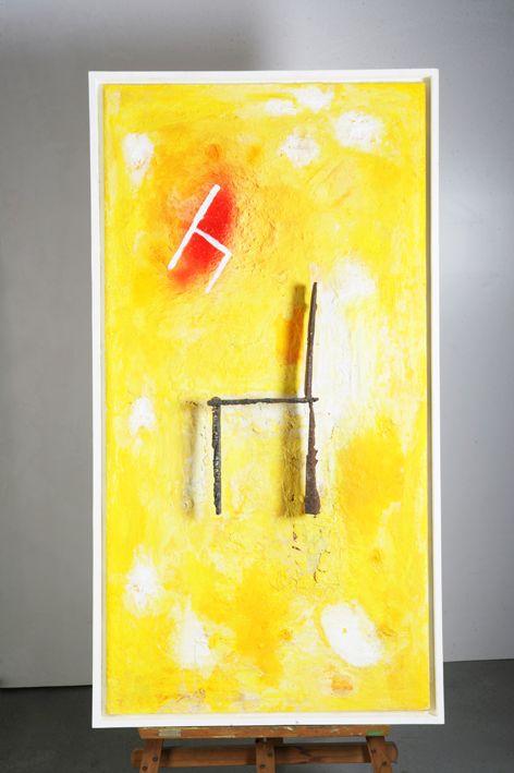 Pigmento, resina, arena y hierro sobre tablero de madera. Autor: Frutos María.