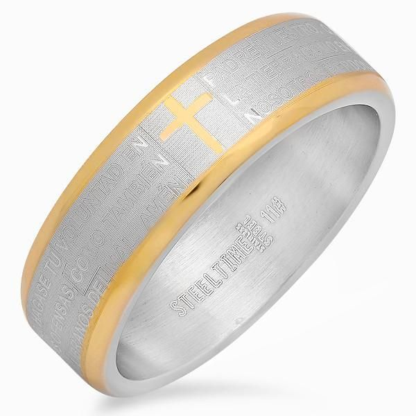 MEN'S STAINLESS STEEL RING IN SILVER-TONE/18 KT GOLD PLATED CORNER DESIGN,W/SPANISH PRAYER DESIGN