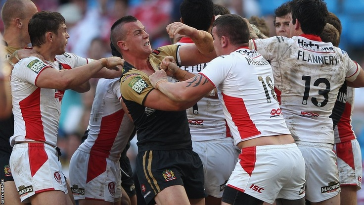 St Helens and Wigan players