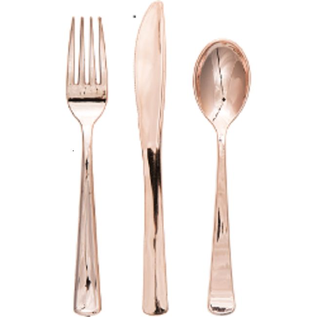Rose Gold Plastic Cutlery Set - Teaspoons, Forks, Knives *Case of 120* LOOKS LIKE REAL!