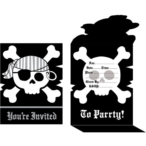 Pirate Parrty Invitations 8ct
