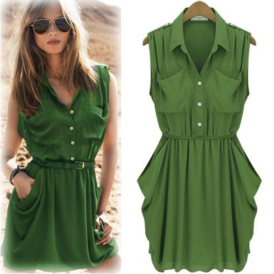 cool trendy womens outfits 2013   2013 European Style Fashion trendy Pocket Women clothes casual pleated ...