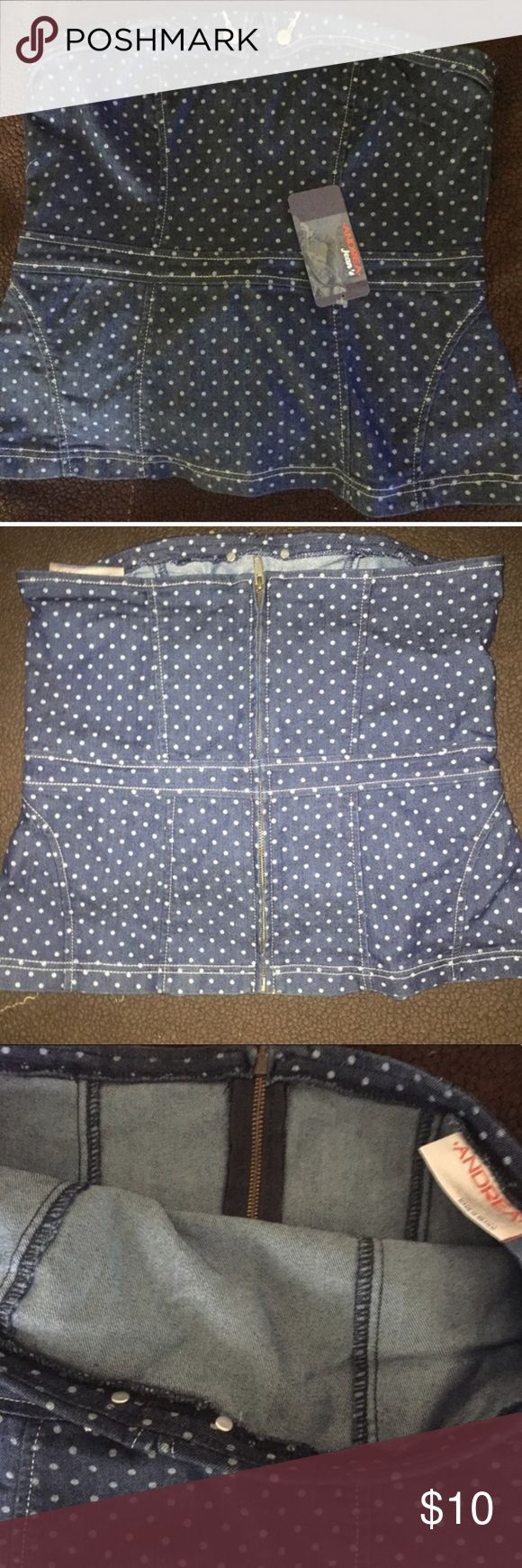 Denim corset top by Andrea So cute with white shorts or capris! Runs small, fits like a medium. Andrea Tops