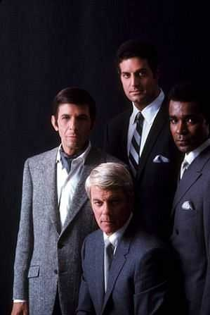 Mission Impossible: Leonard Nimoy as Paris, Peter Graves as Jim Phelps, Peter Lupus as Willy Armitage, and Greg Morris as Barney Collier