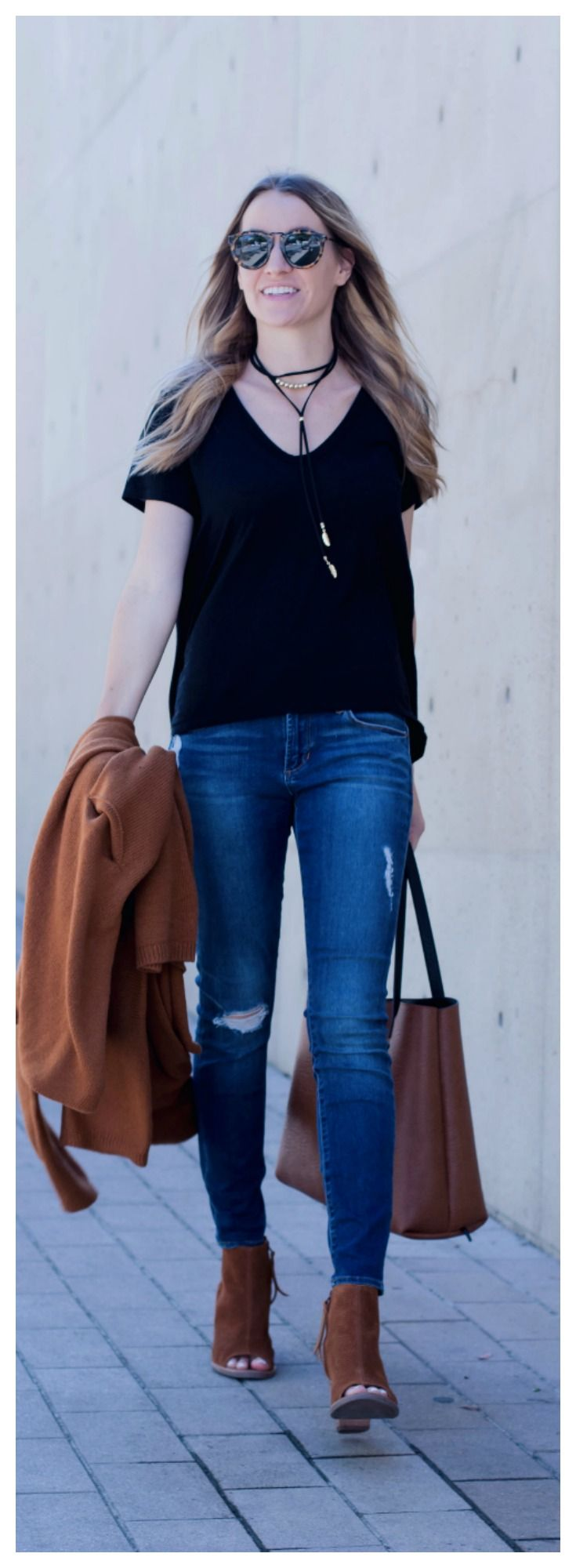 Distressed Jeans, Black Tee, Long Necklace, and Caramel Accessories// The Perfect Fall Look