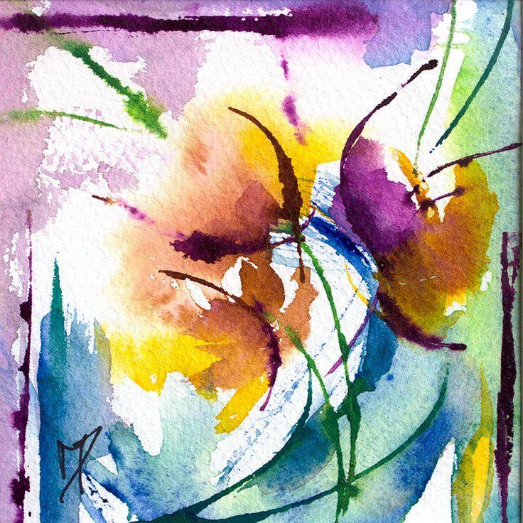 Les 524 meilleures images du tableau kukkia sur pinterest aquarelle aquarelles et - Tuto peinture abstraite contemporaine ...