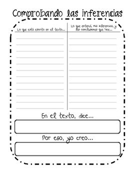 There are four graphic organizers in this file in both English and Spanish. There is a GO for making inferences, word meaning, main idea, and summ...