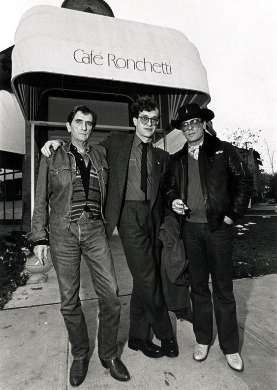 Wim Wenders, Harry Dean Stanton and Dean Stockwell during the production of PARIS, TEXAS.