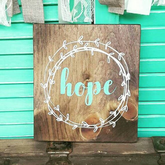 Wooden sign Hope Wood signs sayings  Handpainted wood sign