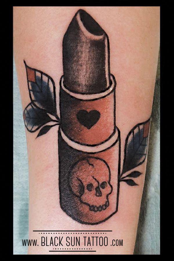 Tattoo by Black Sun Tattoo , Warsaw , Poland  #oldschooltattoo #traditionaltattoo #skulltattoo #lipsticktattoo #toxictattoo #poisontattoo #womenstatttoo #blacklipstick #blacksuntattoo