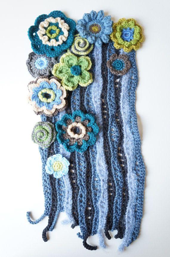 Vintage Inspired Flower Fall - Freeform Art Piece / Crochet Wall Hanging / Freeform Crochet Art