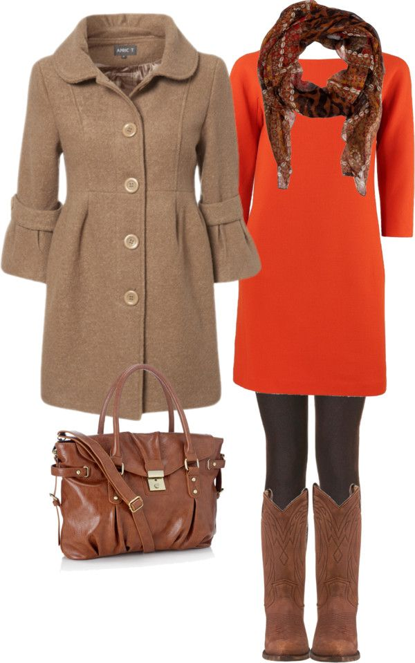 fallCowboy Boots, Orange Dresses, Clothing, Fall Winte, Winter Outfit, Fall Outfits, Fall Fashion, The Dresses, Coats