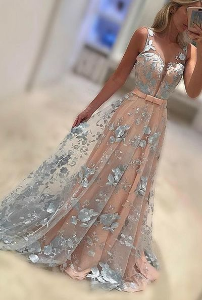 New Arrivel A-Line V-Neck Sweep Train Lace Long Prom Dress,2017 Evening Dress,379
