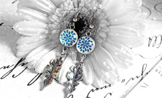 Blue Flower Galss Dome Earrings Leaf Earrings by JewelryFairyGift