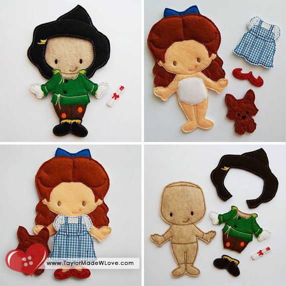 Emerald City Dress Up Set Felt Paper Doll Toys Digital Design Files - Wizard of Oz, Dorothy, Scarecrow, Lion, Tin Man, Glinda, Wicked Witch on Etsy, $60.00