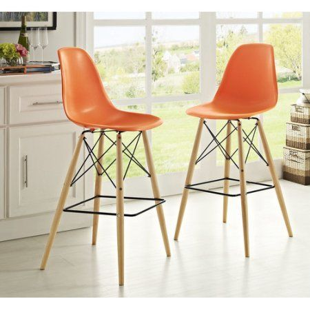 Modway Pyramid Dining Side Bar Stool Set of 2, Multiple Colors, Orange