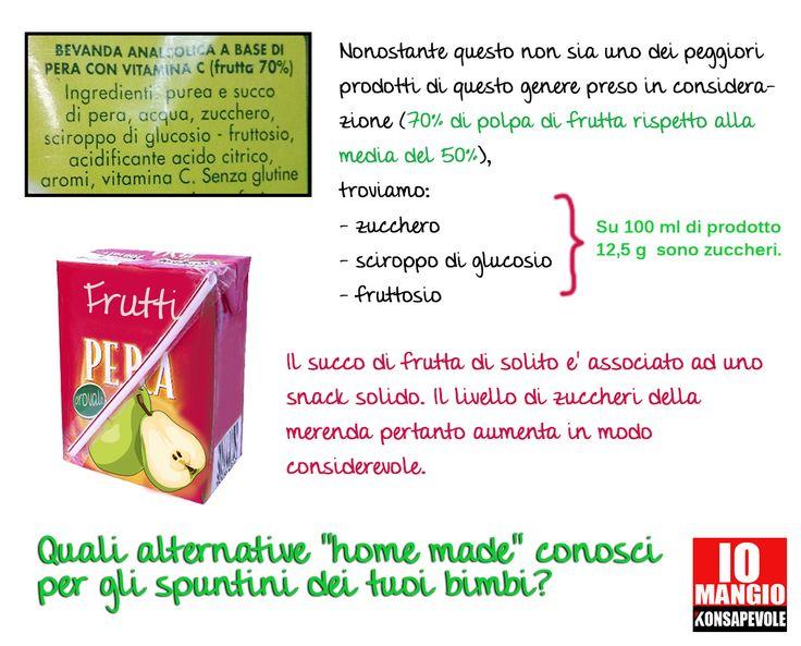 I succhi di frutta non possono essere considerati sostituti della frutta perché mancano di fibre che servono a rallentare l'assorbimento degli zuccheri semplici; è meglio pertanto preparare a casa dei frullati di frutta fresca.  #succhidifrutta #frutta #bevande