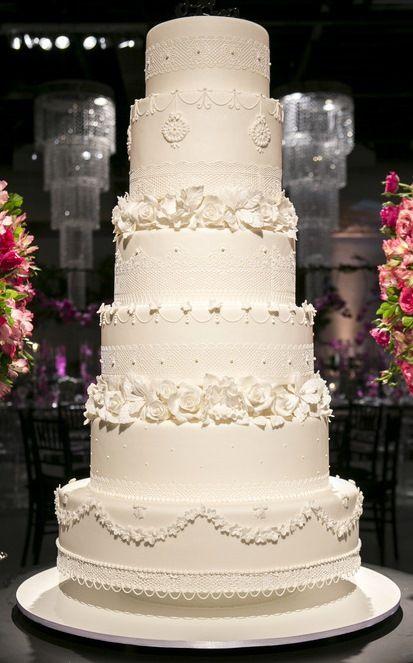 Wedding Cake, Casamento, renda, flores de açúcar, branco, 6 andares