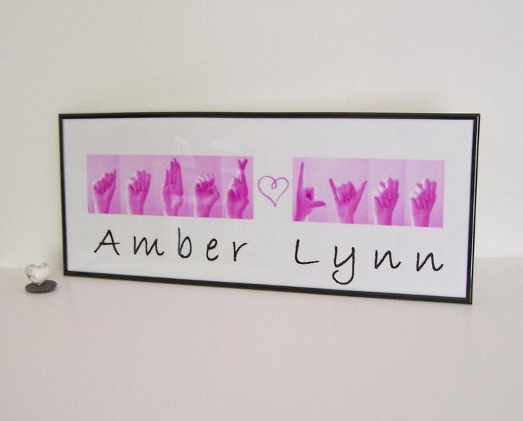 ASL Alphabet Names Sign Language Custom Order - Baby Gift - Children's Art.