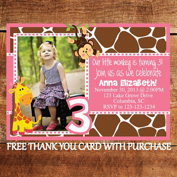 Safari Birthday Invitation with FREE Thank You Card - Jungle Animal ...