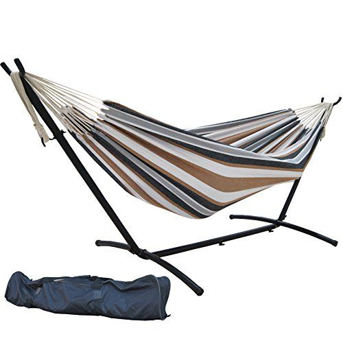 Image result for Sorbus Double Hammock with Steel Stand Two Person Adjustable Hammock Bed - Storage Carrying Case Included (Desert-Brown Blue)