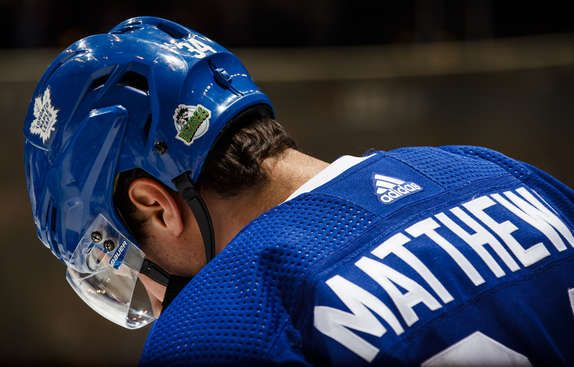 Auston Matthews 34 Of The Toronto Maple Leafs Wears A Sticker On His Helmet In Honour Of The Victims Of A Traffi Maple Leafs Toronto Maple Toronto Maple Leafs